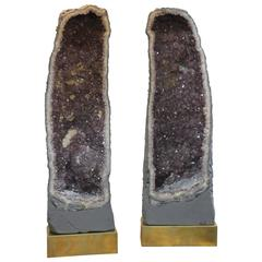 Monumental Pair of Amethyst Geode Lamps