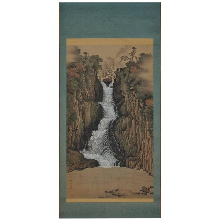 "Sugitani Sessho ""Nachi Falls,"" Japanese Scroll Painting"