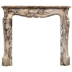 19th Century, Louis XV Style Fireplace Mantel in Breche de Benou Marble