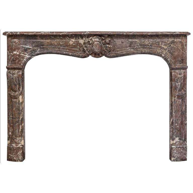 19th Century, Louis XV Style Antique Fireplace Mantel in Rouge Royal Marble