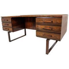 Rare Rosewood Desk Designed by Kai Kristiansen for Preben Schou Andersen