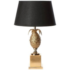 1970s Patinated Bronze and Brass Table Lamp Attributed to Maison Le Dauphin