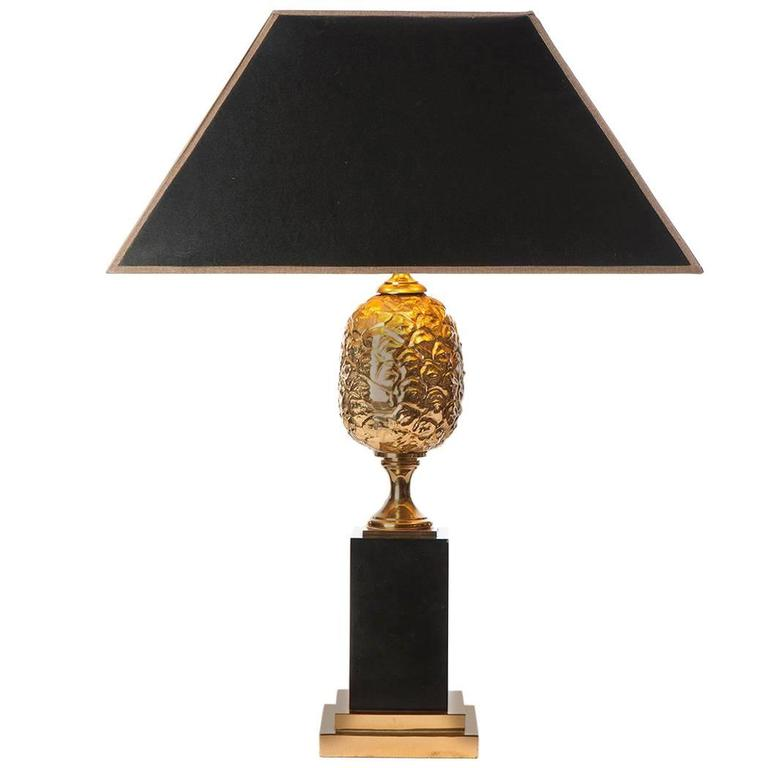 1970s Brass Table Lamp Attributed to Maison Jansen