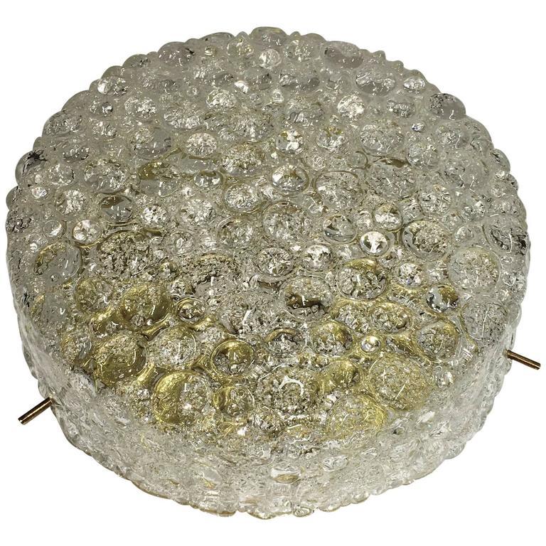 Hillebrand Bubble Glass Flush Mount Brass