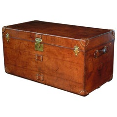 Exceptional Goyard Leather Steamer Trunk c1910