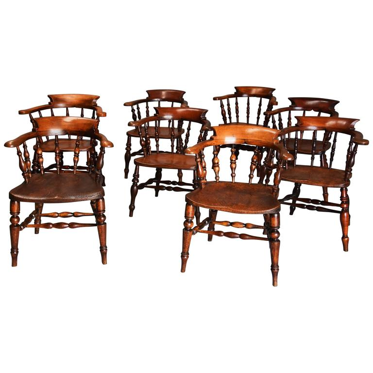 Large Matched Set of Eight Mid-19th Century Smokers Bow Chairs or Office Chairs