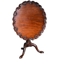 Late 19th Century Mahogany Chippendale Style Piecrust Tilt-Top Tea Table
