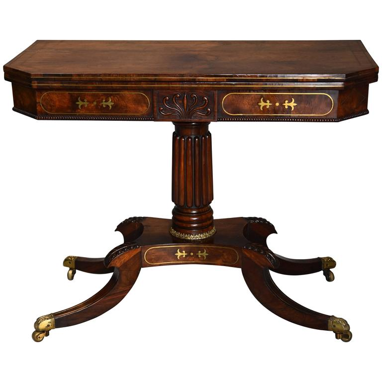 Regency Rosewood Card Table with Brass Inlaid Decoration of Super Quality