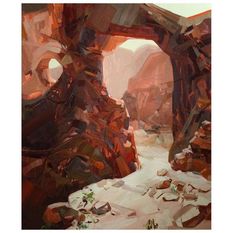 Monumental Oil 'Rock Wall' noted artist Claire Sherman- Kavi Gupta Gallery For Sale