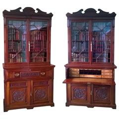 Pair of Late 19th Century Walnut Secretaire Cupboard Bookcases