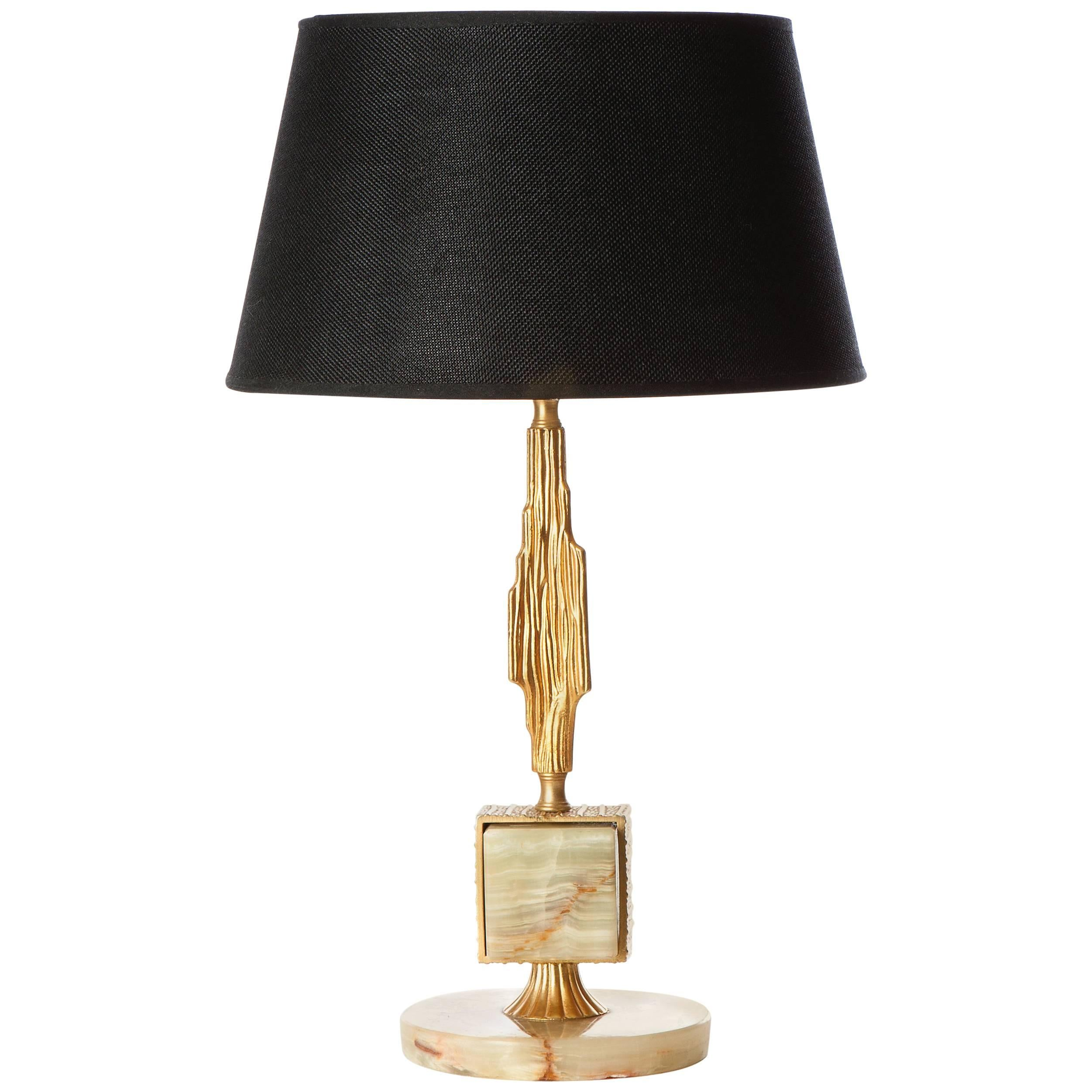 Elegant Brass and Onyx Table Lamp in Style of Sciolari