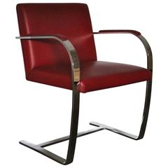 """Knoll Studio """"Brno Flat Bar"""" Lounge Armchair in Red Leather by Mies van der Rohe"""