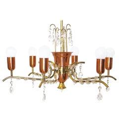 Mid Century Modern Brass Copper Crystal Chandelier by Rupert Nikoll Vienna 1950s