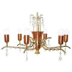 Brass and Copper Crystal Chandelier by Rupert Nikoll, Vienna, 1950s