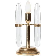 1970s Brass and Glass Table Lamp by Gaetano Sciolari