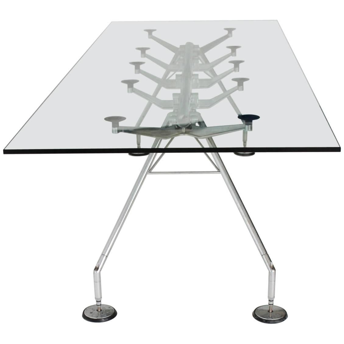 Modernist Vintage Chrome and Glass Dining Table Nomos by Sir Norman Foster 1986