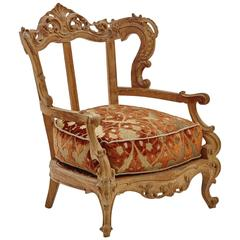 Armchair in Venetian Velvet and Silk Brocade Fabric
