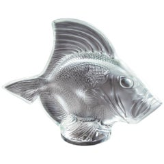 Lalique France Gros Poisson Vagues Large Fish Glass Sculpture Estate Find