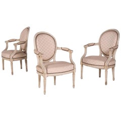"""Three Elegant Antique """"Cabriolet"""" Armchairs in Louis XVI Style, France, 1860"""