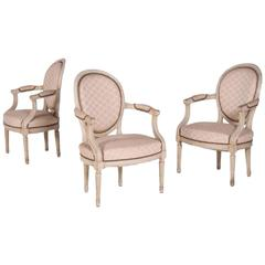 "Three Elegant Antique ""Cabriolet"" Armchairs in Louis XVI Style, France, 1860"