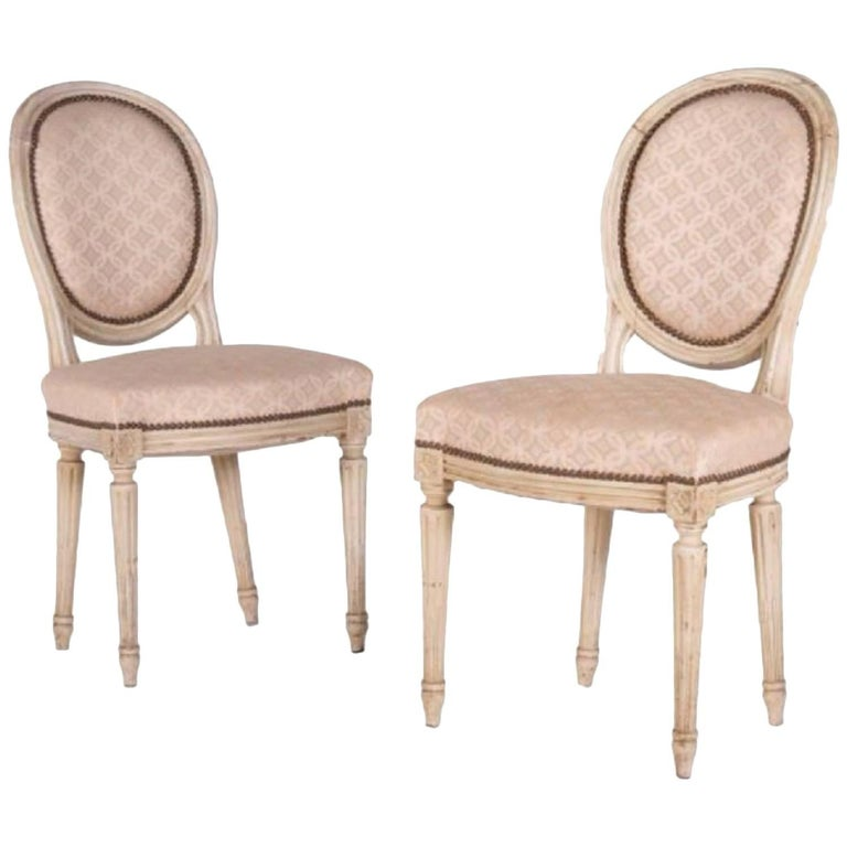Two Elegant Antique Chairs from France in Louis XVI Style, circa 1860 For Sale