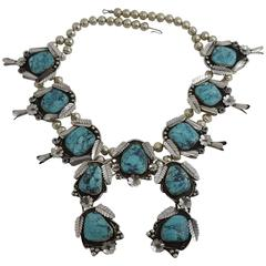 Vintage Oversize Silver and Turquoise Squash Blossom Necklace JG Marked