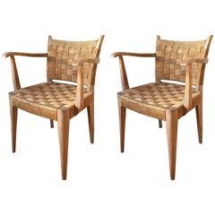 Pair of Art Deco Limed and Seagrass Armchairs