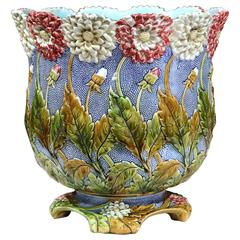 Large 19th Century French Hand-Painted Round Barbotine Cache Pot with Flowers