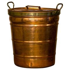 Handmade Hammered Copper Bucket with Lid