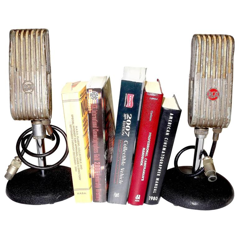 rca broadcast microphones 1945 as bookends or display as sculpture on sale for sale at 1stdibs. Black Bedroom Furniture Sets. Home Design Ideas