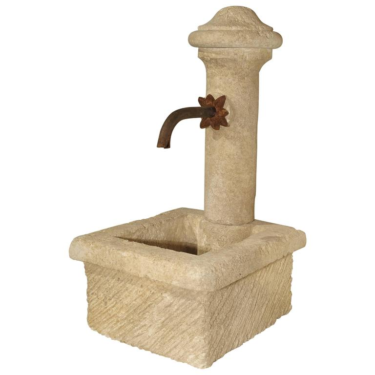 Small Provence France Carved Limestone Fountain For Sale