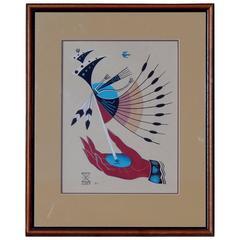 Navajo Artist Adee Dodge Gouache, Surreal Subject