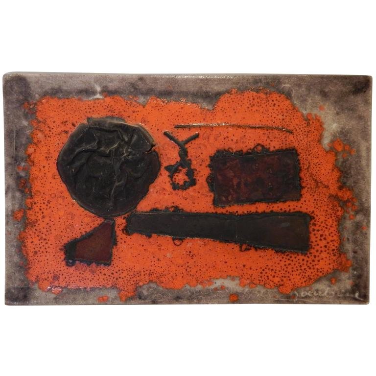 Unique Guido Gambone Abstract Ceramic Tray with Applied Copper