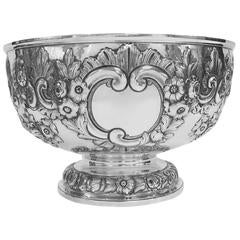 Antique English, Sterling Silver, Hand Chased Bowl
