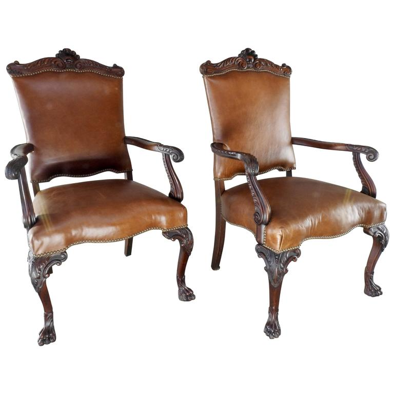 19th Century Walnut and Leather Side Chairs Hairy Paw Feet