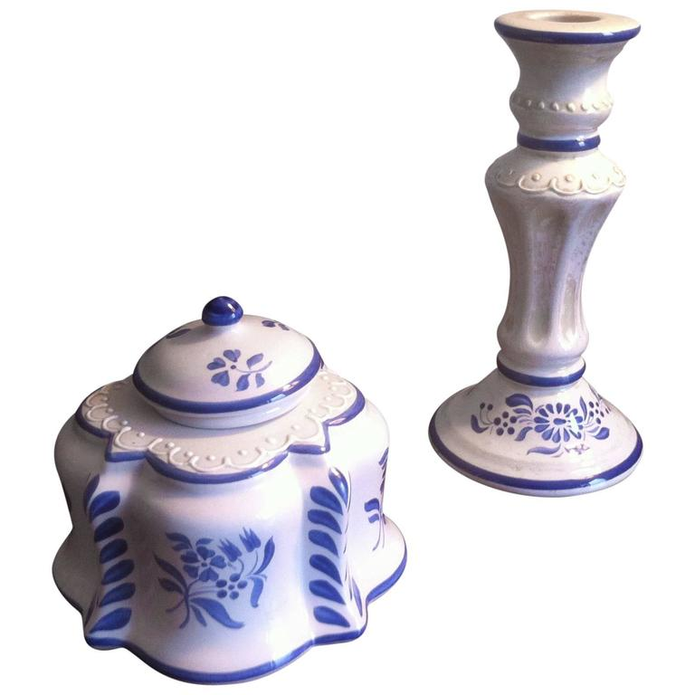 Inkwell and Candleholder in French Faience De Desvres, Hand-Painted 1