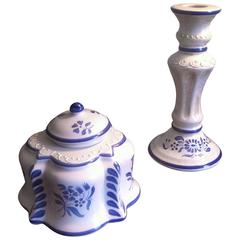 Inkwell and Candleholder in French Faience De Desvres, Hand Painted