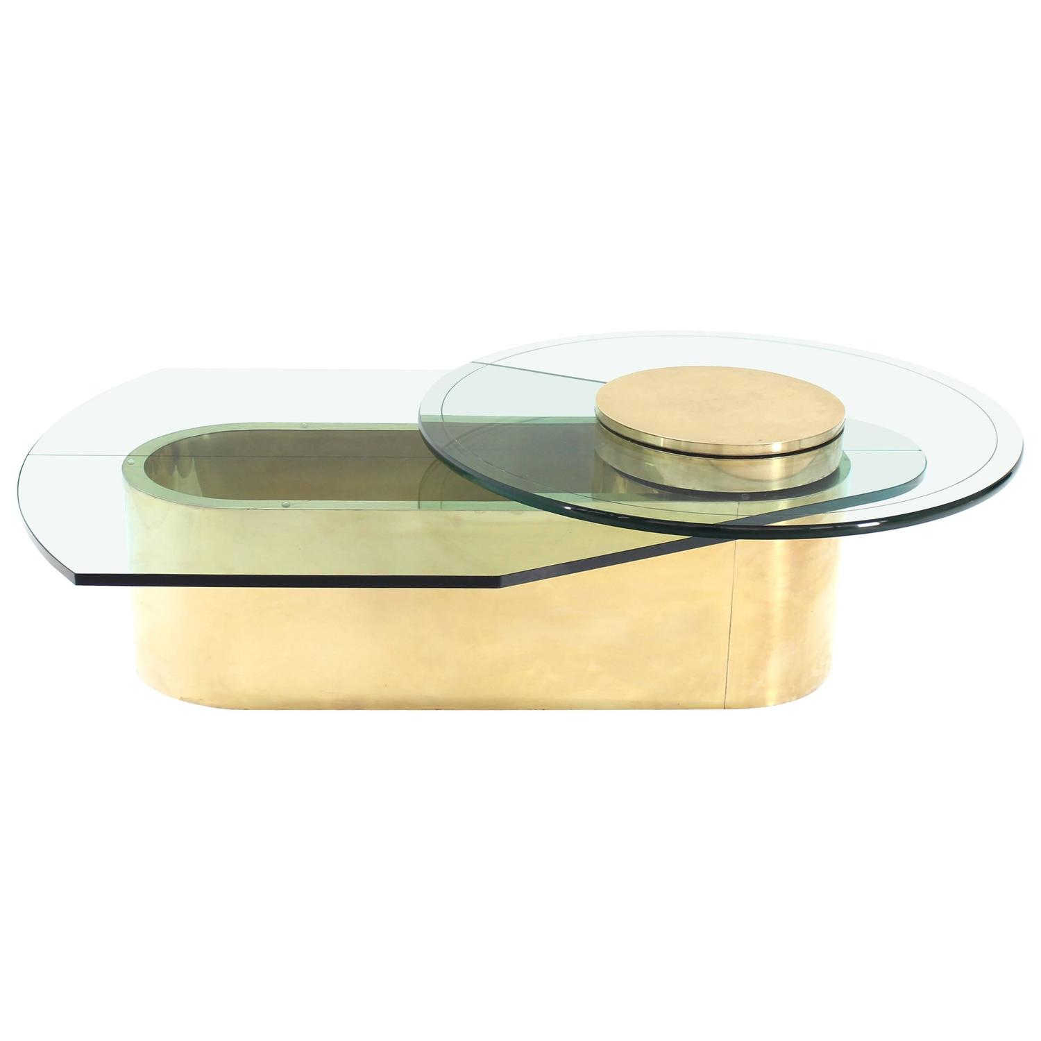 Brass Glass Brass Two Tier Round to Oval Lazy Susan Coffee Table