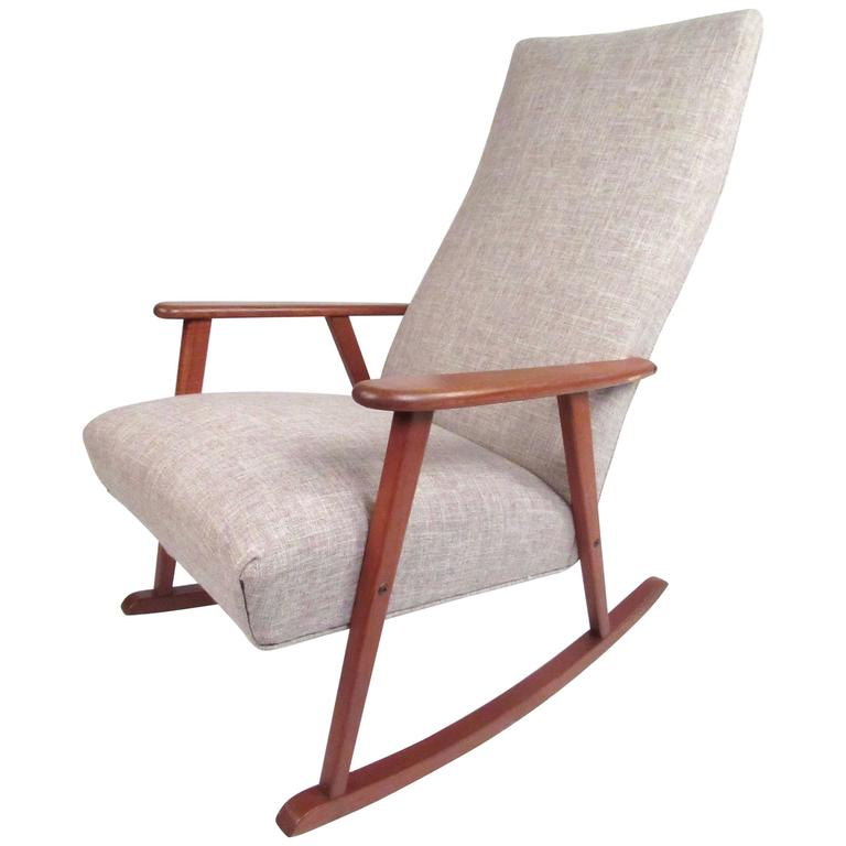 Mid Century Modern Danish Teak Rocking Chair For Sale