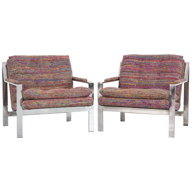 Set of Cy Mann Flat Bar Lounge Chairs Freshly Reupholstered For Sale