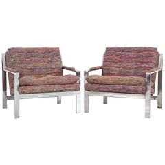 Set of Cy Mann Flat Bar Lounge Chairs Freshly Reupholstered