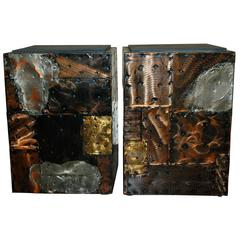Pair of Late 1960s Paul Evan'S Patchwork and Slate Side Tables