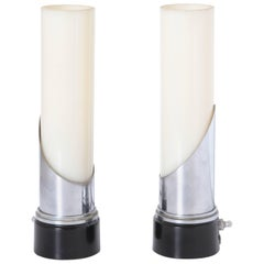 """Gilbert Rohde for Mutual Sunset Attributed Machine Age Art Deco """"Lipstick"""" Lamps"""