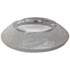 """Large Lalique Frosted Crystal Ashtray, Bowl """"Fougères"""" France"""