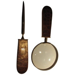 Handsome Letter Opener, Magnifying Glass with Alligator Handles, Sterling Mounts