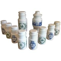 Opaline White Jars Set, 10 Pieces with Green and Blue Ornaments, Italy