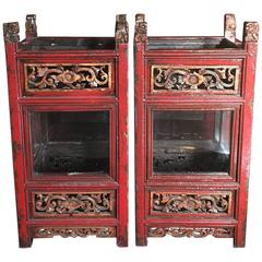 Pair of Vintage Chinese Carved Wooden Glazed Candle Lanterns, circa 1950