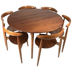 Hans Wegner 'Heart' Dining Table and Chairs for Fritz Hansen