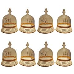 Set of Eight Charming Crystal Cloche with Gilt Accents