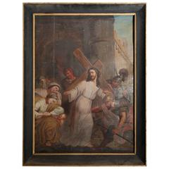 Antique French Religious Painting of Christ from the Late 1800s